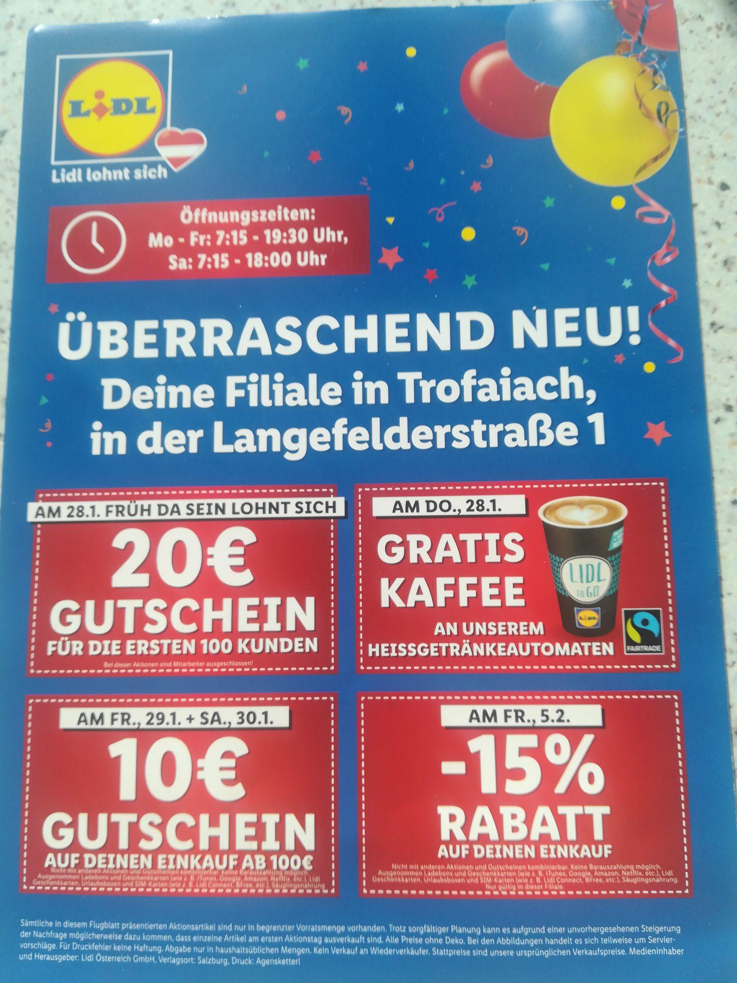20€ Gutschein + gratis Kaffee