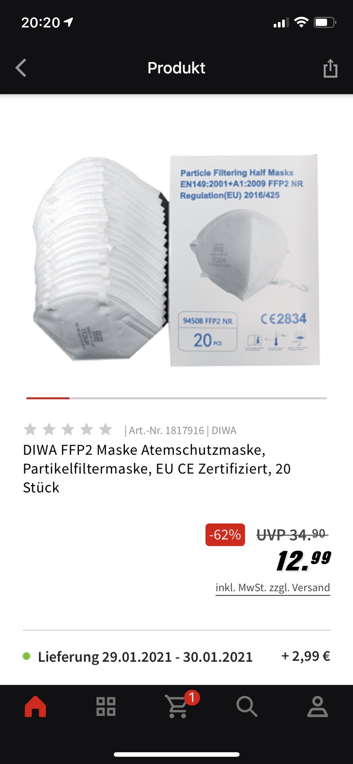 DIWA FFP2 Maske 20 Stk.