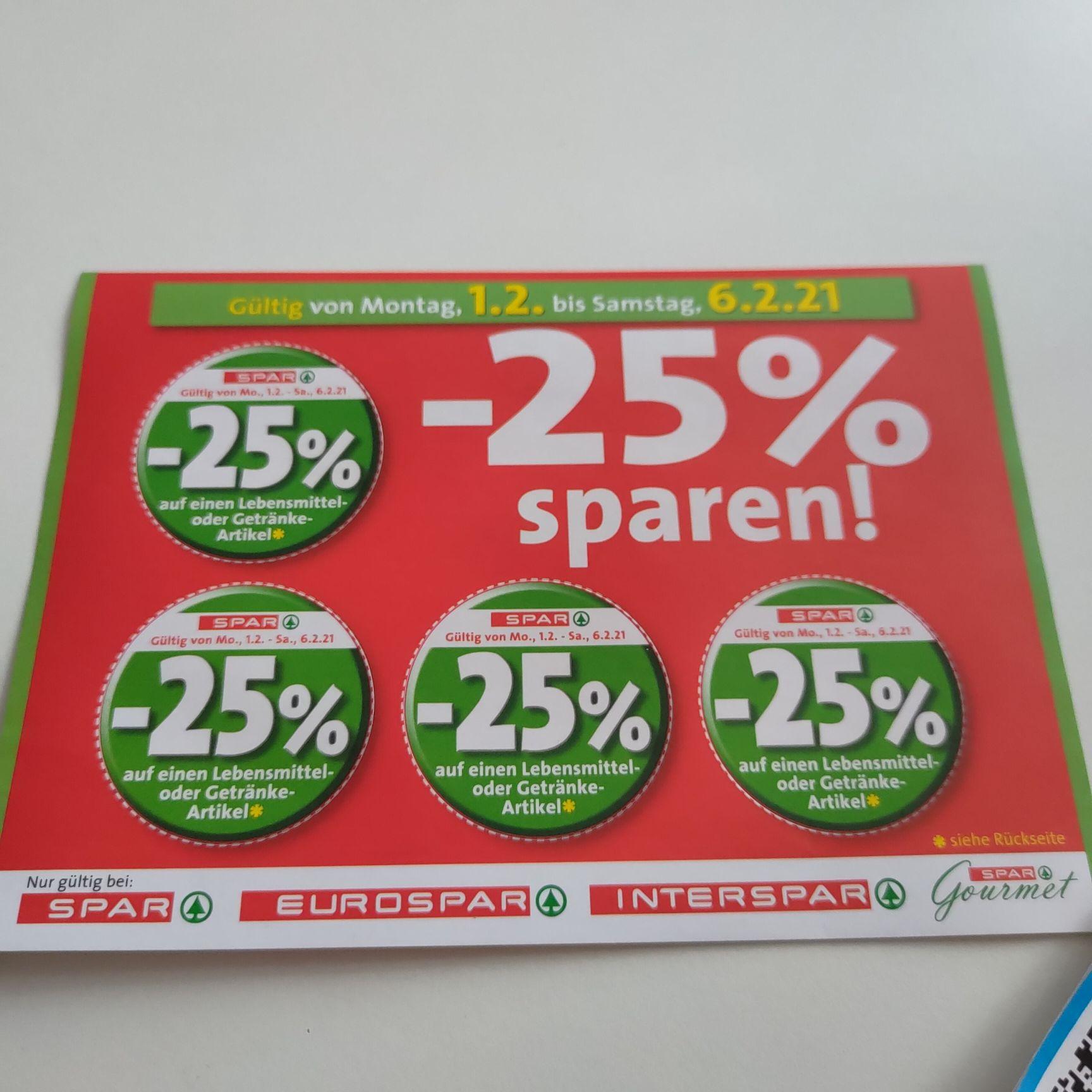 [Spar, Eurospar, Interspar] 25% Rabattsticker