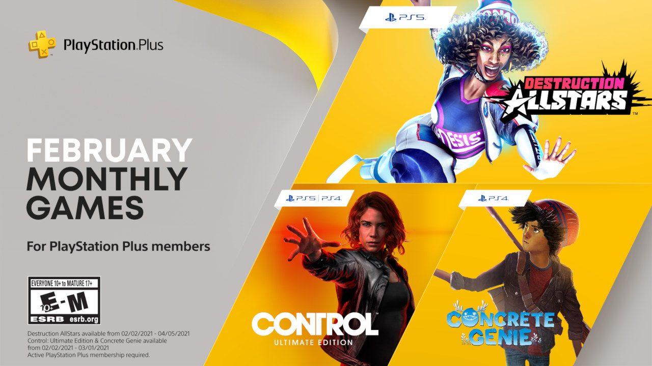 "PS Plus Februar 2021: ""Control: Ultimate Edition"", ""Concrete Genie"" (PS4) und ""Destruction AllStars"" (PS5) ohne weitere Kosten mit PS Plus"