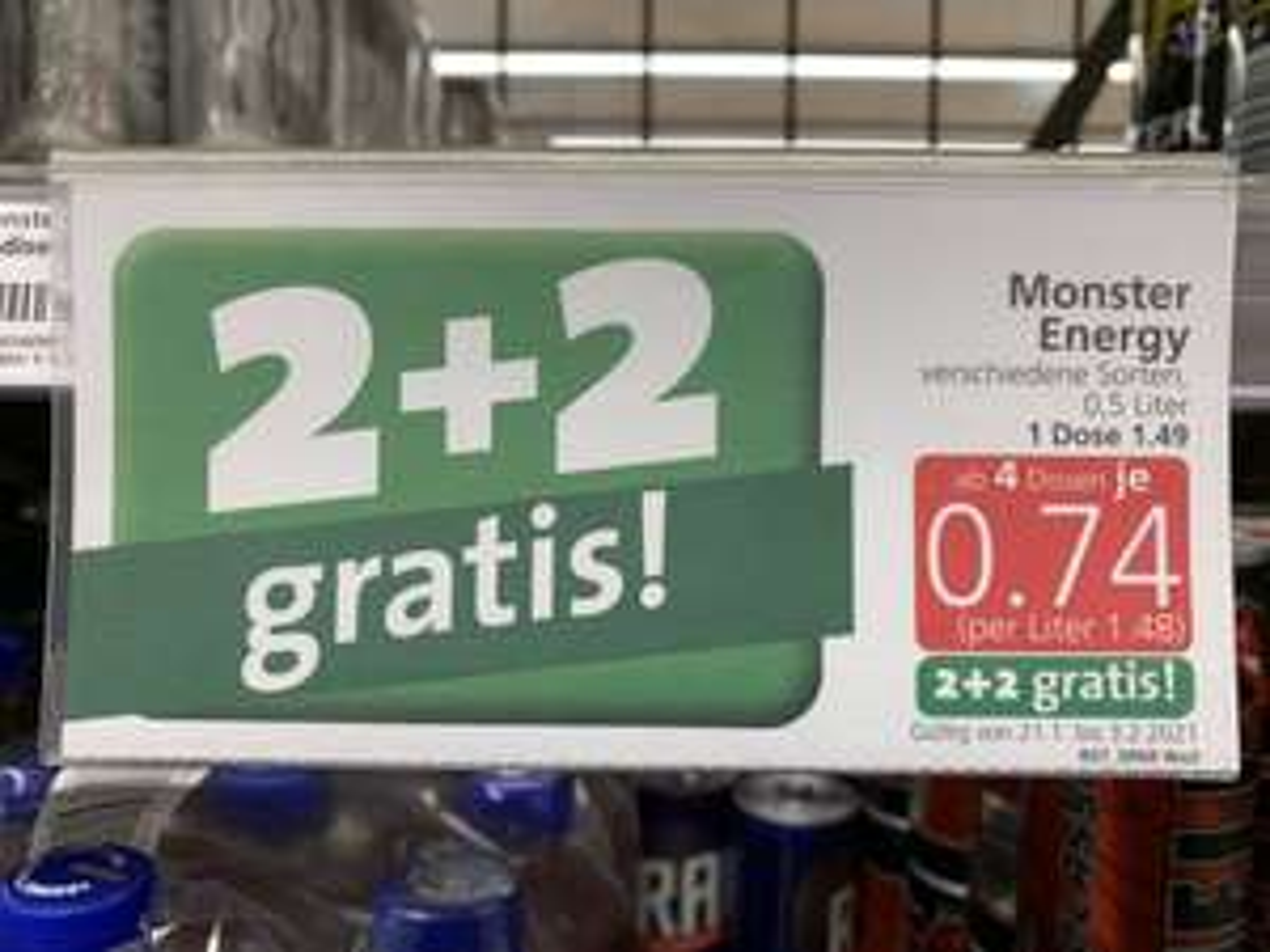 2+2 gratis auf Monster Energy bei Spar/Eurospar/Interspar