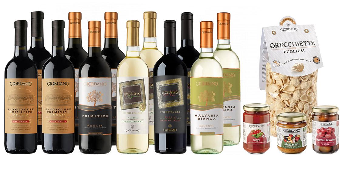 16 Weinflaschen + 6 Delikatessen - Giordano Weine