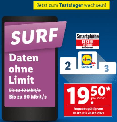Lidl Surf wieder mit 80Mbit im Februar