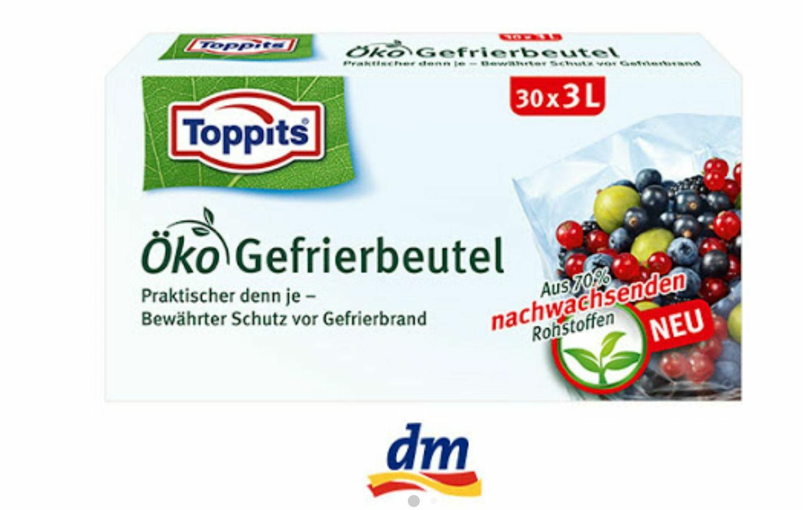 Toppits Öko Gefrierbeutel mit bis zu 0,35€ Gewinn bei DM mit Cashback über Scondoo, Marktguru und Payback