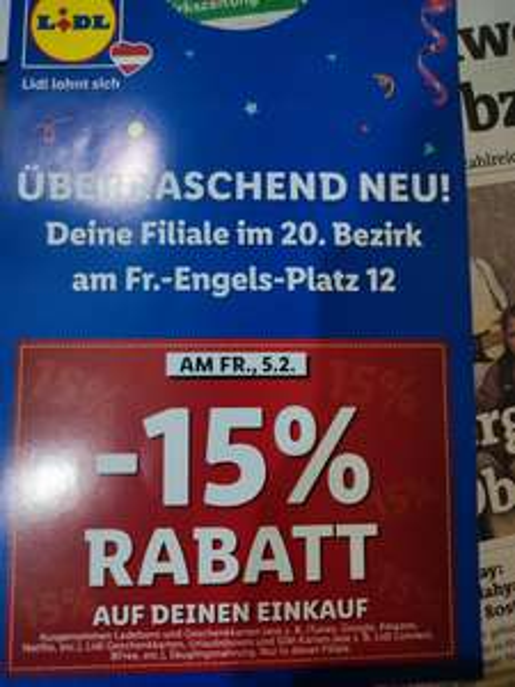 [Lidl] 15% Rabatt 1200 Wien Fr.-Engels-Platz 12