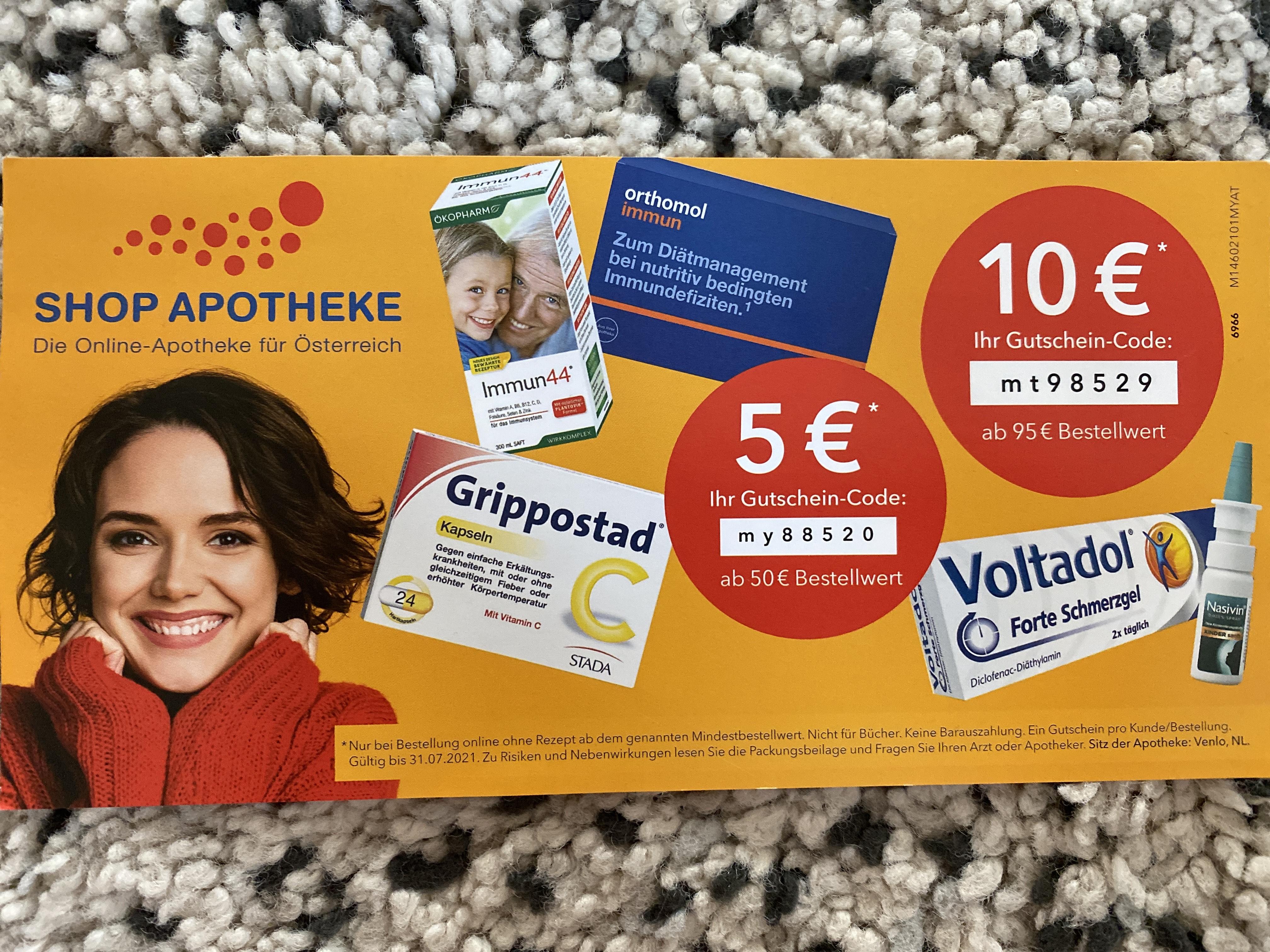 Shop Apotheke: 5€ ab 50€ / 10€ ab 95€
