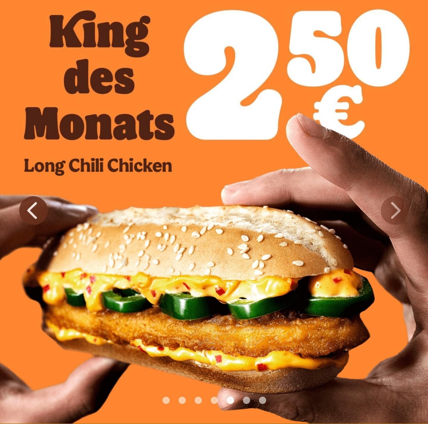 "Burger King ""King des Monats"" Long Chili Chicken im Februar um nur 2,50 Euro"