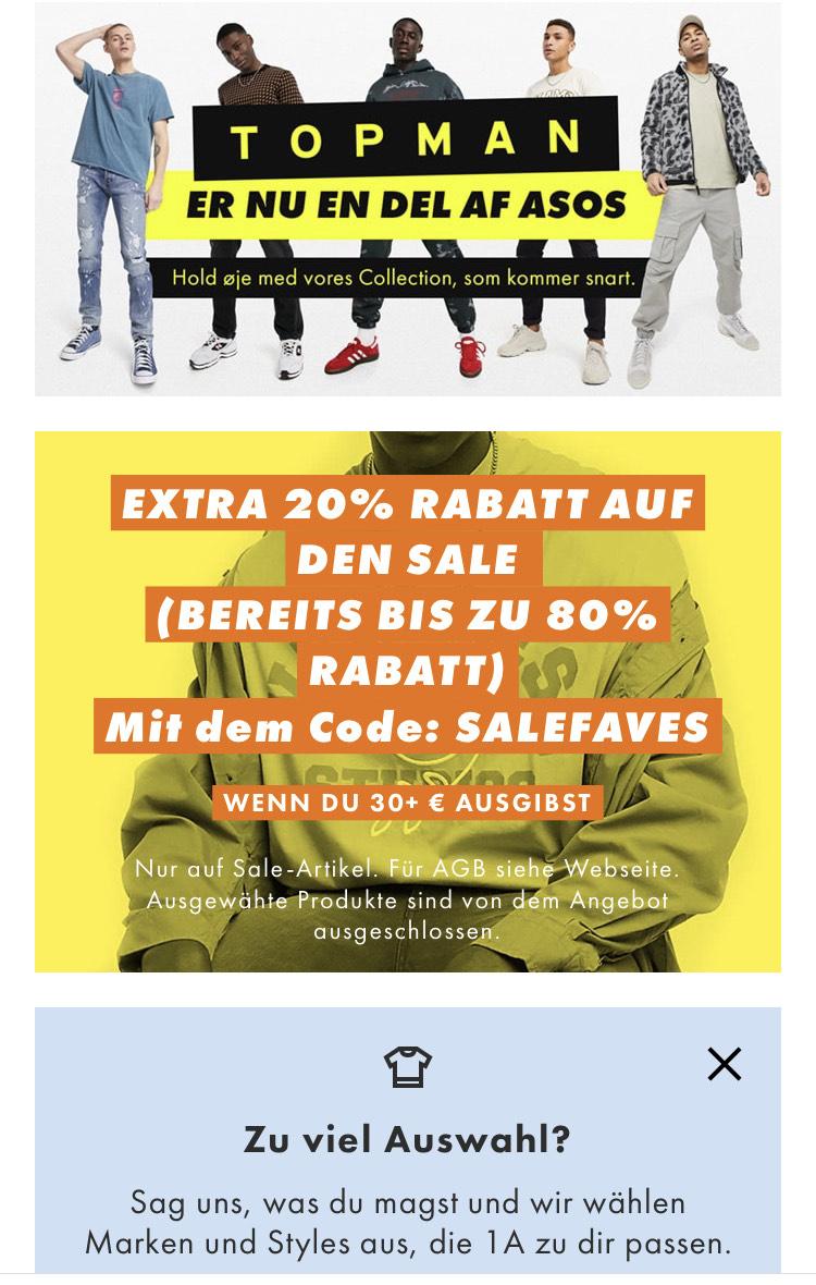 Asos: - 20% extra Rabatt auf Sale