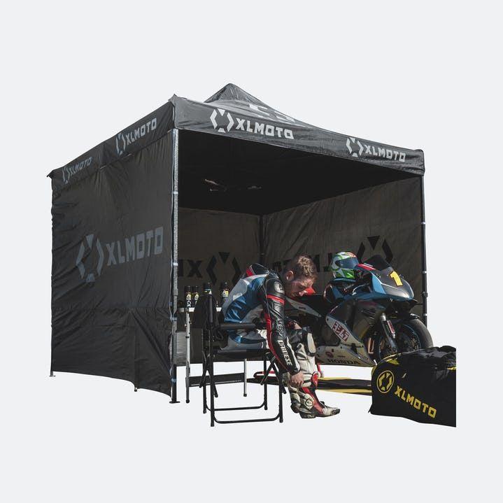Rennzelt Mit Wänden XLMOTO Easy-Up Schwarz 3x3m