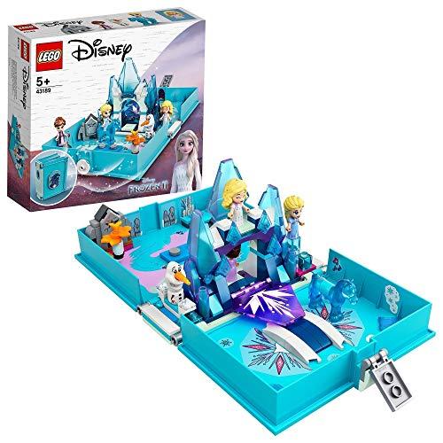 LEGO 43189 Disney Princess Frozen 2 Elsas Märchenbuch, tragbares Spielset, Reisespielzeug für Kinder, Die Eiskönigin 2