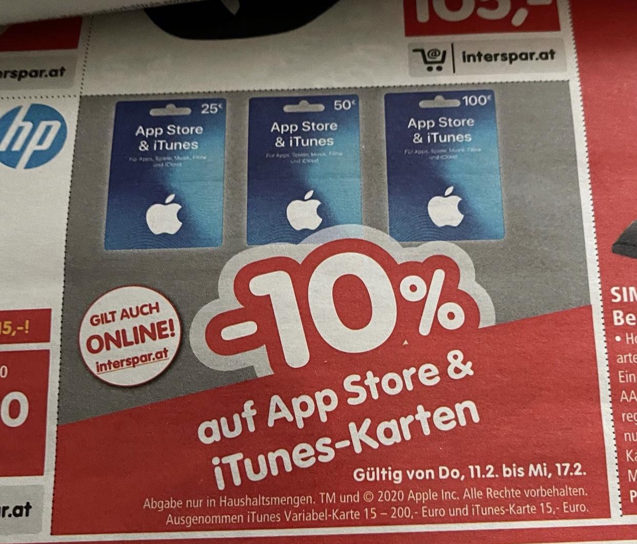 ITUNES 10% auf Karten bei Interspar