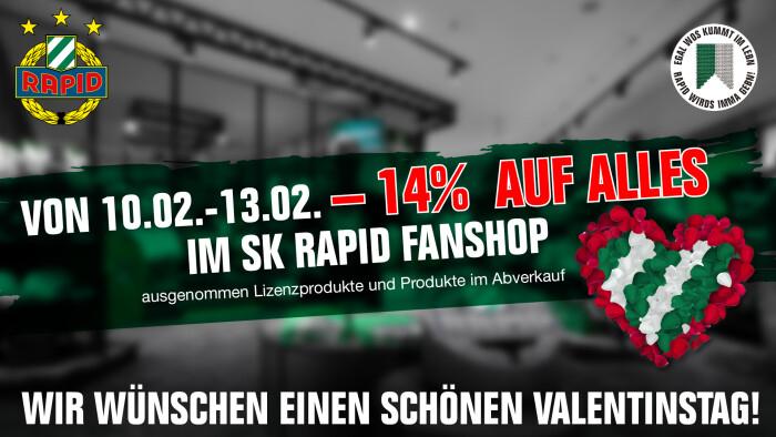 """Minus 14% auf Alles in den """"SK Rapid Fanshops"""" sowie Online (ausgenommen Lizenz- und Abverkaufsprodukte)"""