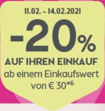 - 20 % ab € 30,— Einkaufswert