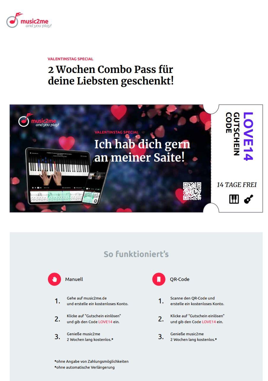 Music2Me: 14 Tage gratis für alle Kurse (Gitarre, Klavier und Musiktheorie)