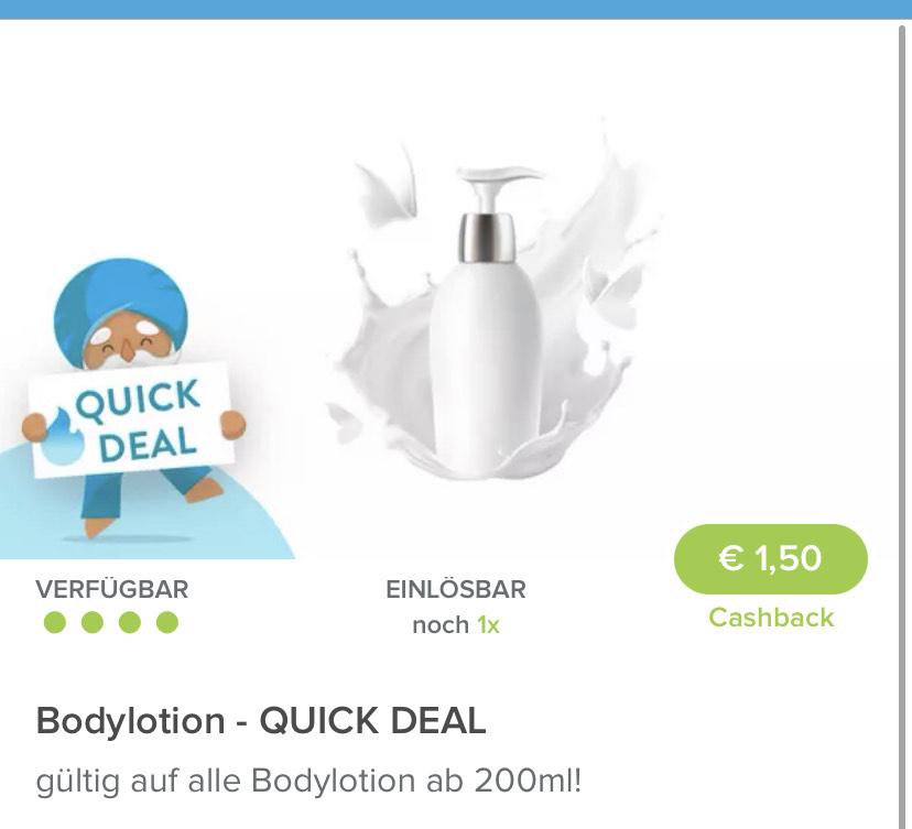 Markguru Quickdeal - Bodylotion ab 200ml - 1,5€ Cashback