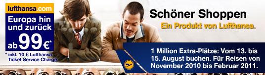 Lufthansa: 1 Million Flüge innerhalb Europas (hin und retour) für 89€