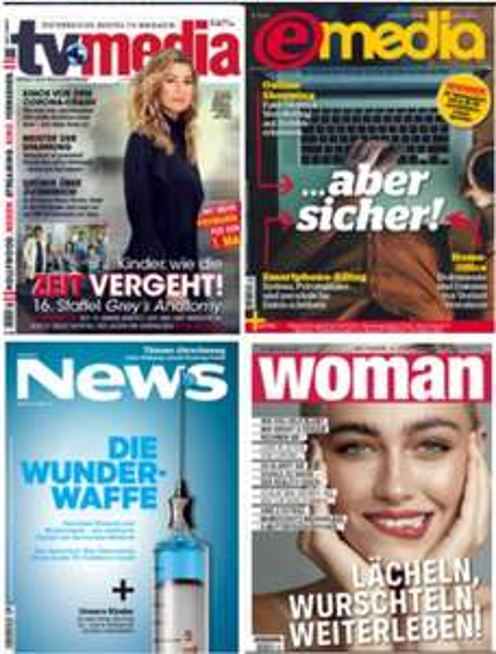 GRATIS testen: TV-Media, E-Media, Woman, News, Trend, Gusto, Auto Revue usw. - 2 Monate, endet automatisch