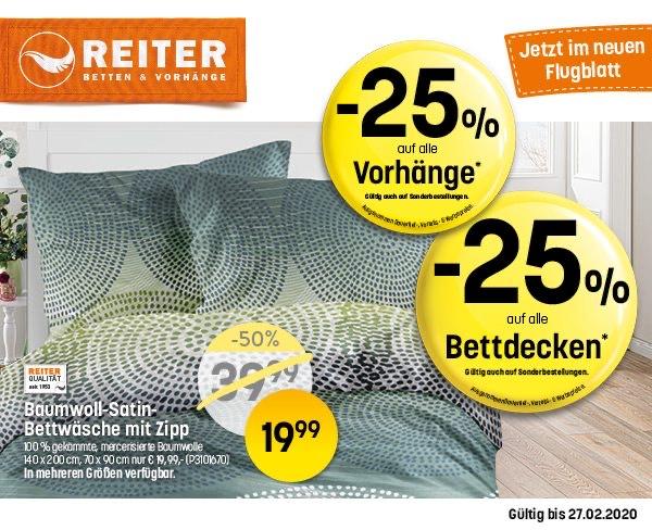 25% auf Vorhänge & Bettdecken bei Betten Reiter
