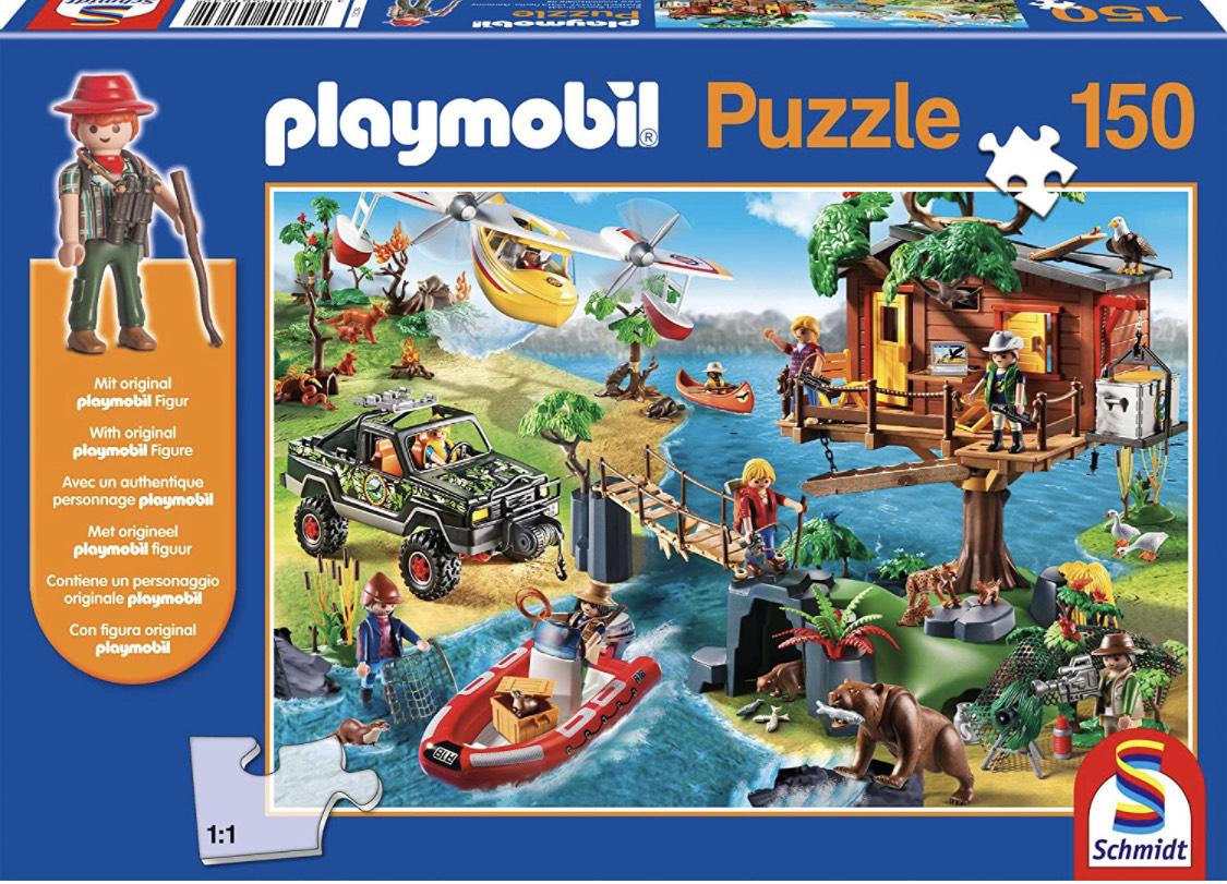 Schmidt Spiele 56164 Baumhaus, 150 Teile Kinderpuzzle, mit Playmobil-Figur