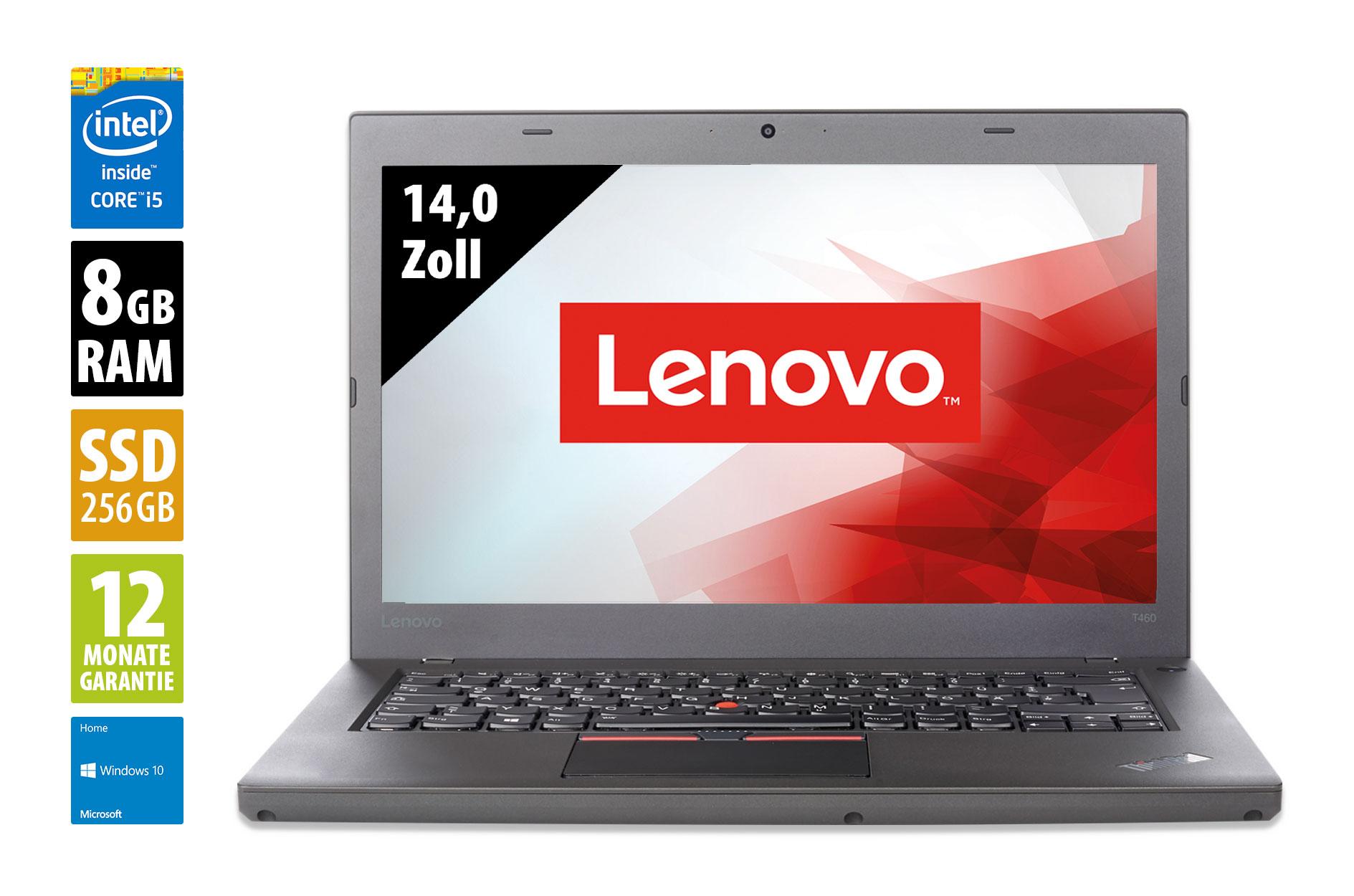 Lenovo ThinkPad T460 14 Zoll Notebook - Core i5-6300U @ 2,4 GHz - 8GB RAM - 256GB SSD - FHD (1920x1080) Grade A