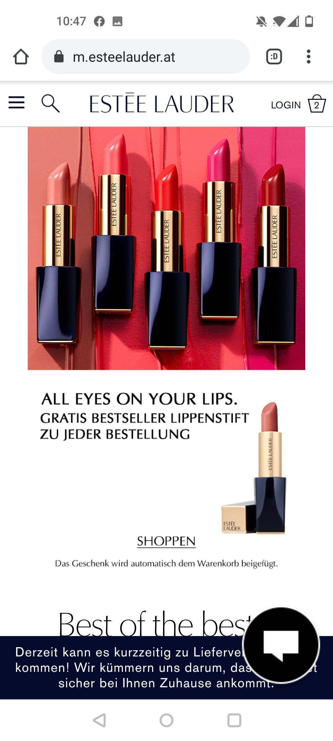 Gratis Lippenstift bei Estée Lauder und Bobbi Brown