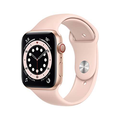 Apple Watch Series 6 (GPS + Cell), 44mm, Aluminium gold mit Sportarmband sandrosa