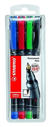 Folienstift - STABILO OHPen universal - permanent fein - 4er Pack - grün, rot, blau, schwarz