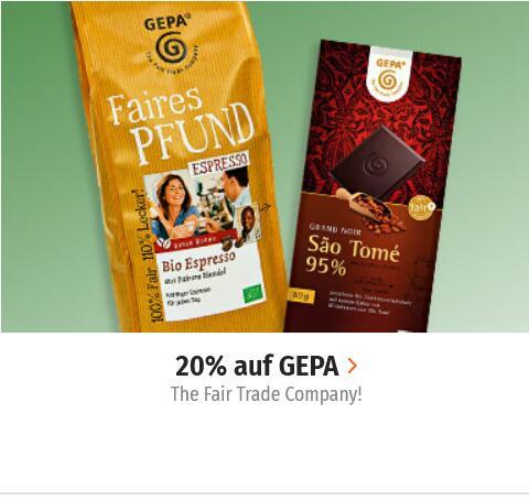 20% Rabatt auf 42 Produkte von GEPA - The Fair Trade Company bei Müller - Schokolade - Kaffee - Tee -Kakao - ... (teilw. Vegan)