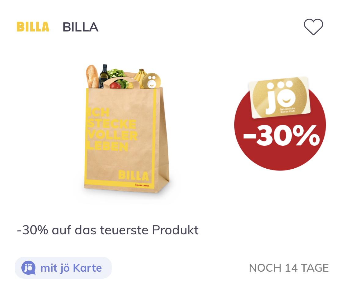 [Billa X JÖ Karte] 30% auf das teuerste Produkt (4.3 -21.3)