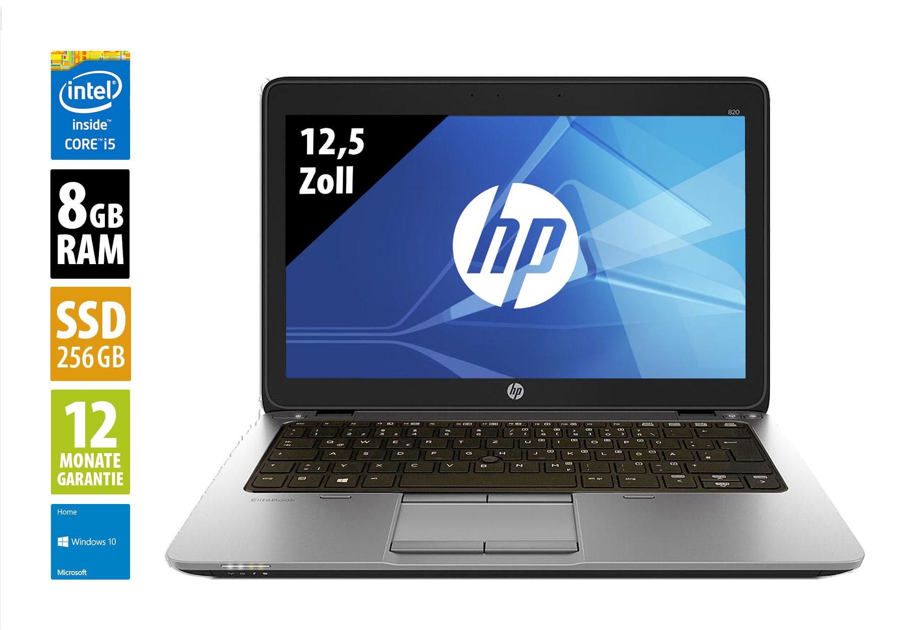 (Gebraucht - Grade A): HP Elitebook 820 G3 - 12,5 Zoll - Core i5-6300U @ 2,4 GHz - 8GB RAM - 256GB SSD