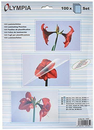 OLYMPIA Laminierfolien-Set 80 Mikron DIN A4, A5,A6, Visitenkarte