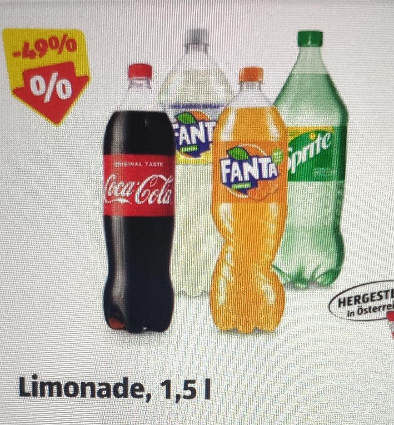 Cola, Fanta, Fanta Lemon Zero, Sprite 1,5 Liter