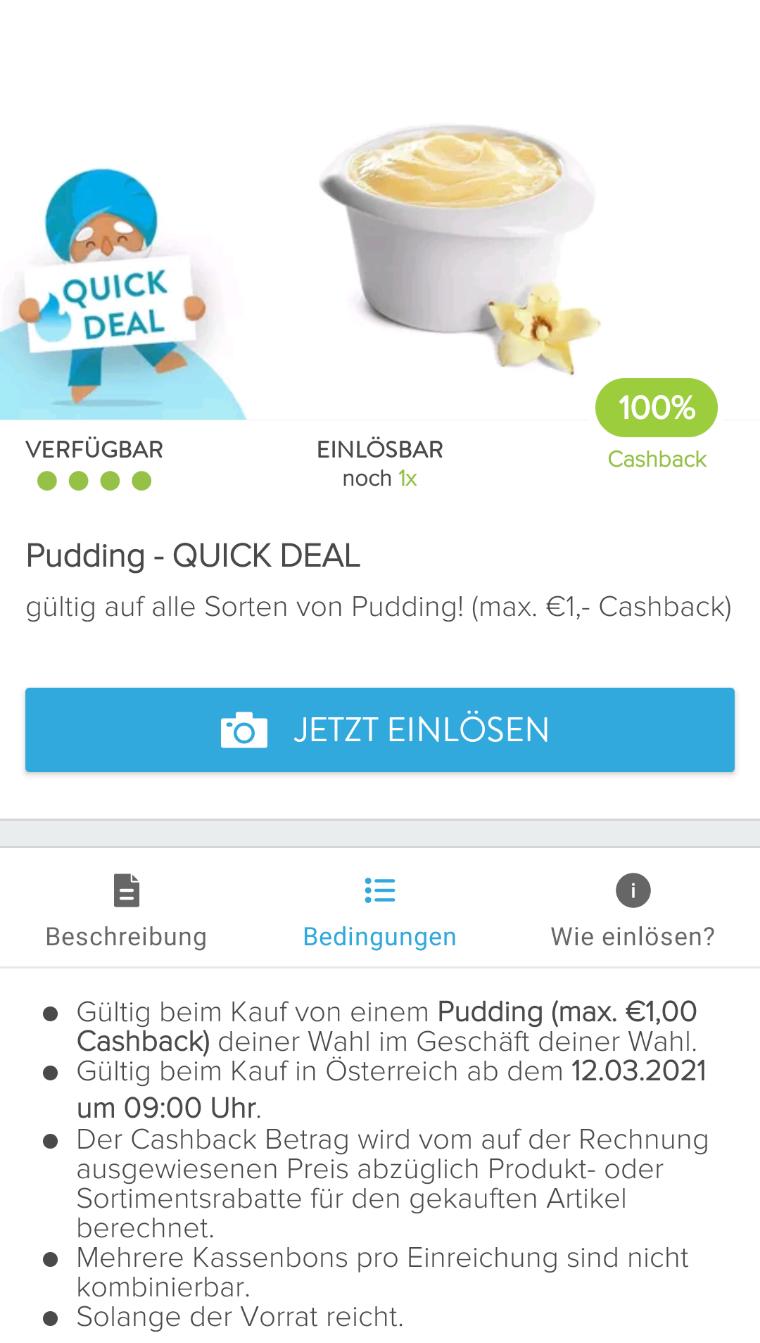 Marktguru 100% Cashback auf Pudding bis 1€