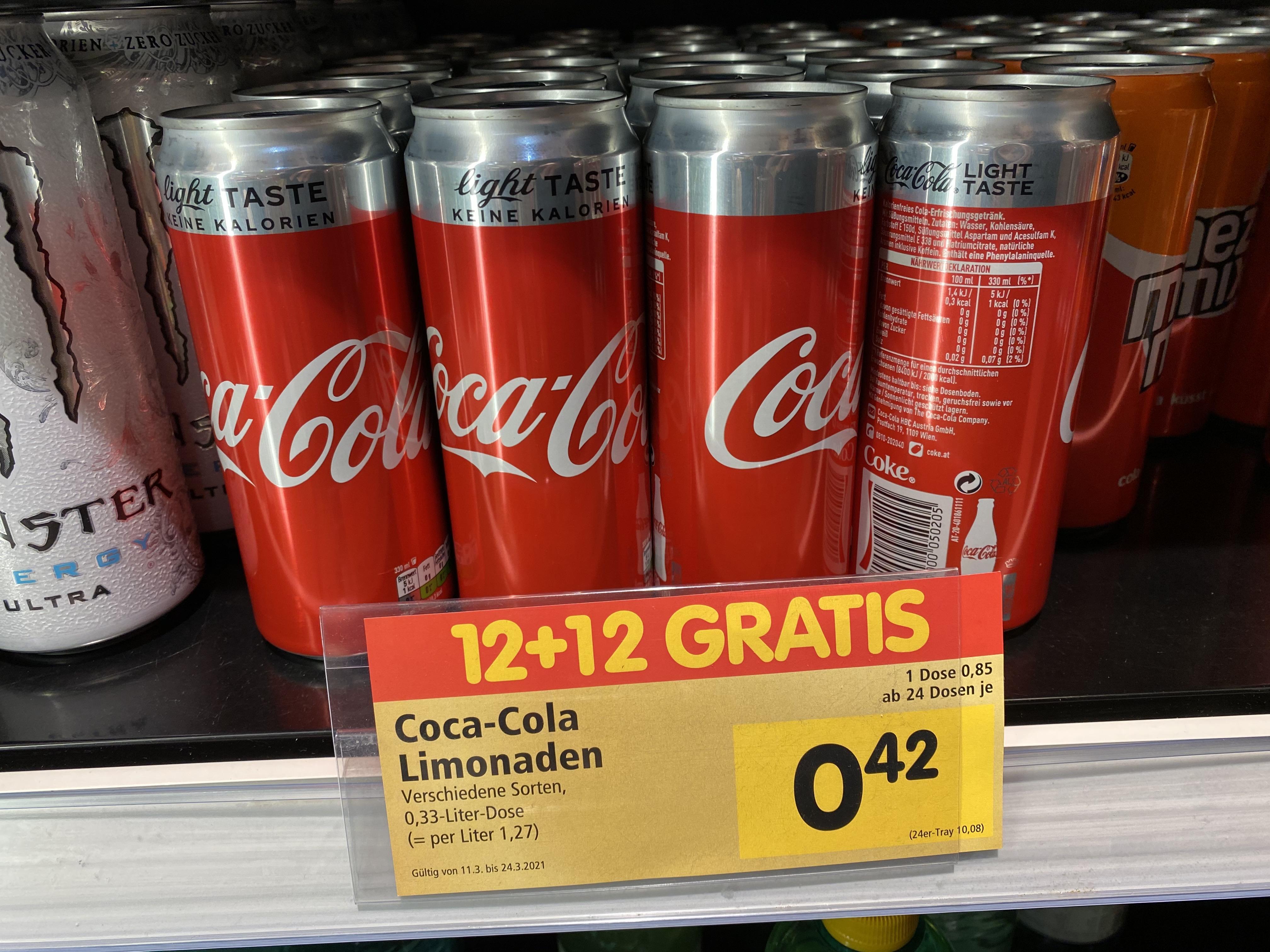 Coca Cola, Fanta & Co für €0,42 pro 0,33L Dose ab 24 Stück