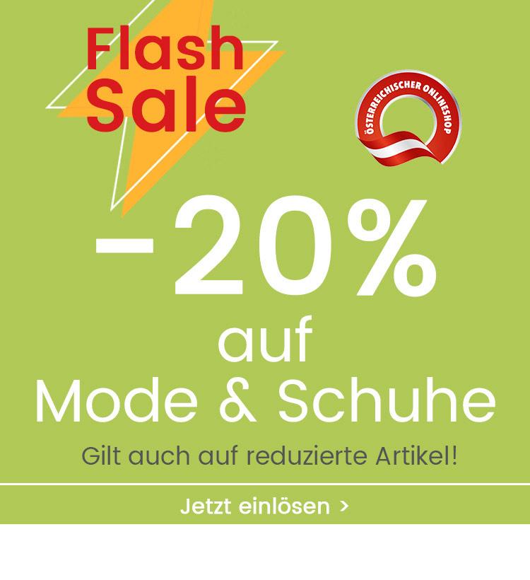 20% Rabatt auf Mode & Schuhe (gilt auch auf reduzierte Artikel)