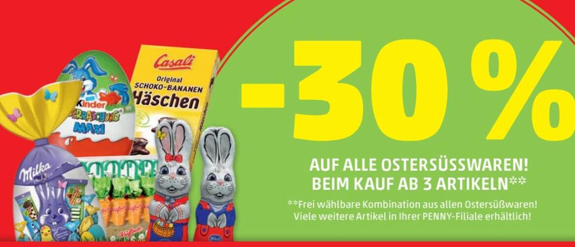 [Penny] -30% Rabatt auf alle Ostersüßwaren ab 3 Artikeln