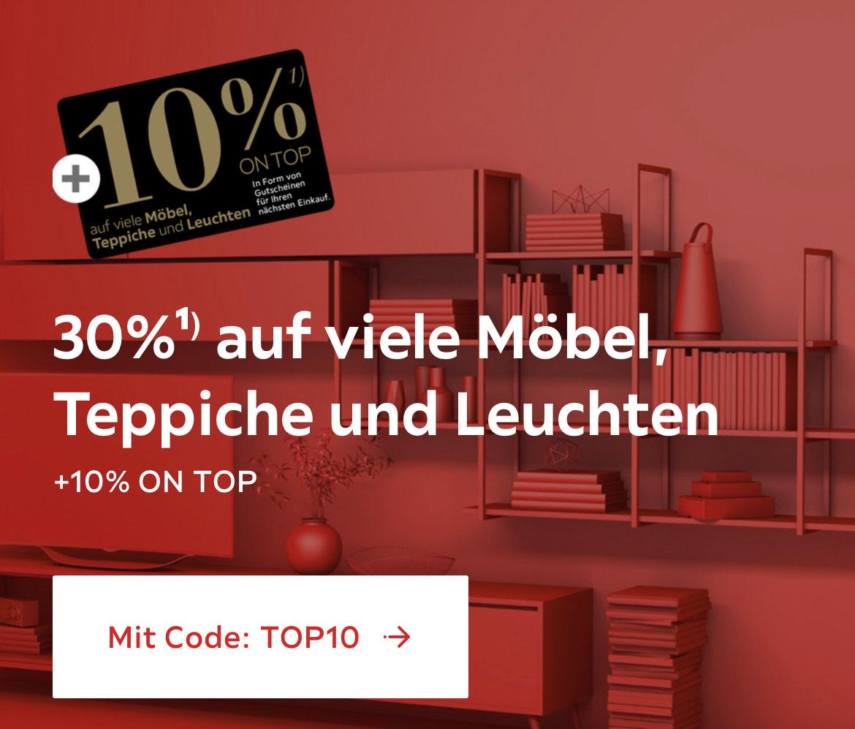 XXXLutz: 30% + 10% on Top auf Möbel, Teppiche und Leuchten vom Herstellerlistenpreis