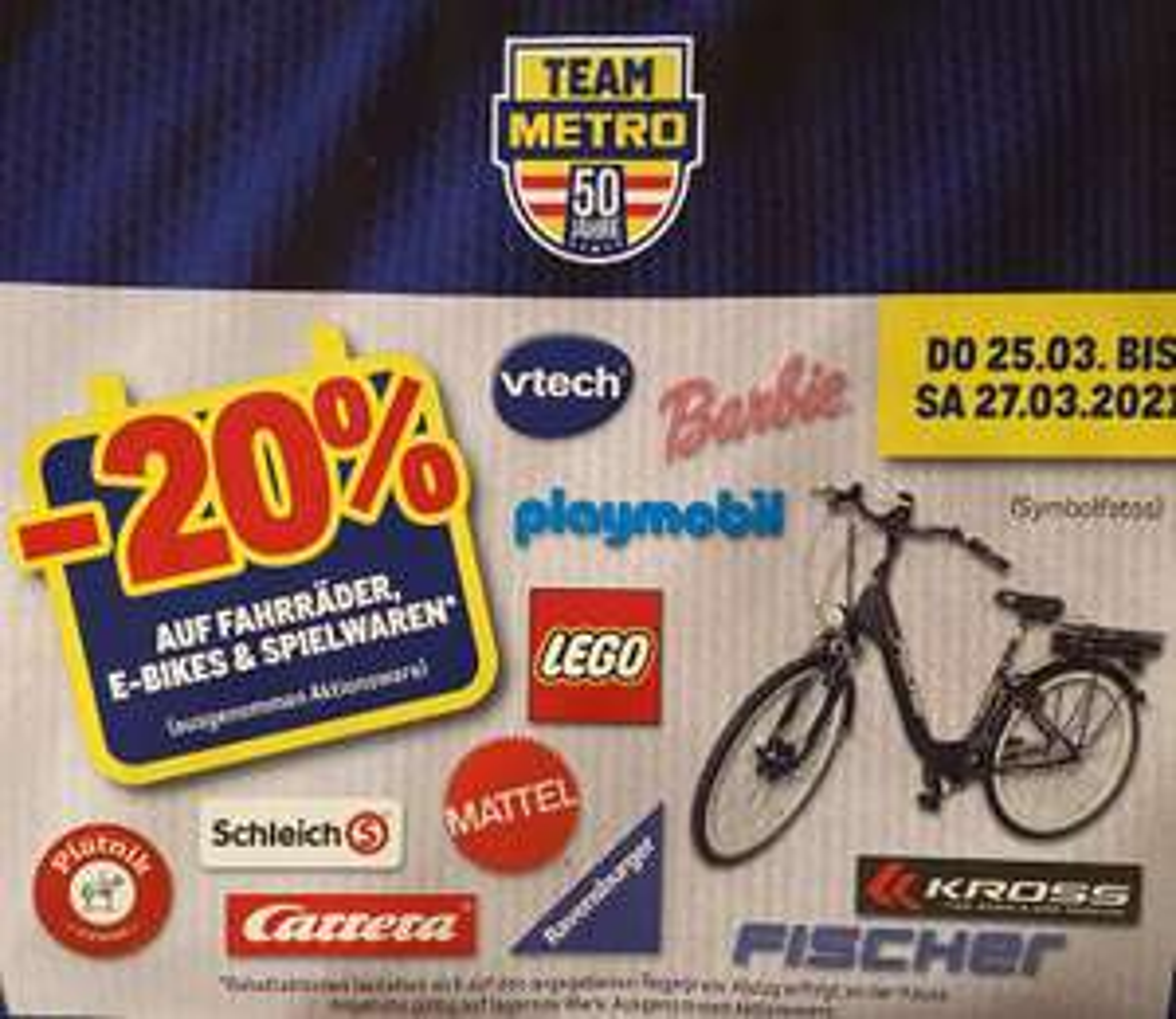 Metro -20% auf Spielwaren, Fahrräder und E-Bikes