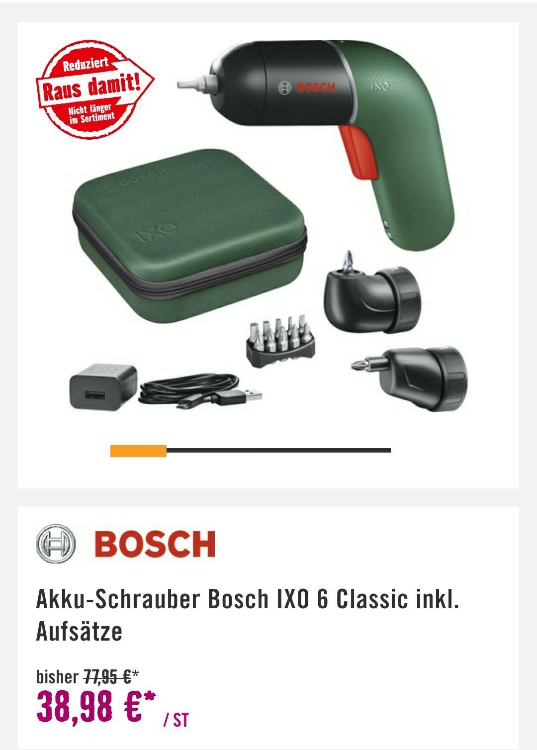 [Lokal - Brunn am Gebirge] Akku-Schrauber Bosch IXO 6 Classic inkl. Aufsätze für jeden