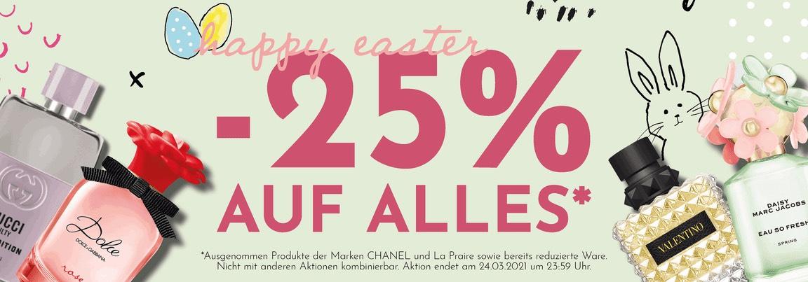 -25% RABATT AUF ALLES* & EIN GRATIS DESINFEKTIONSMITTEL AB € 69