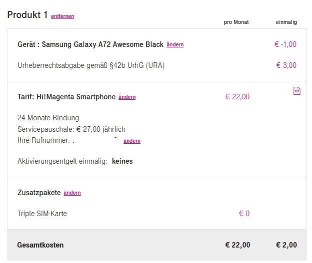 Preisfehler Hi Magenta Samsung Galaxy A72 -1€