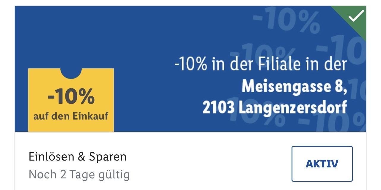 Lidl Langenzersdorf -10% auf gesamten Einkauf