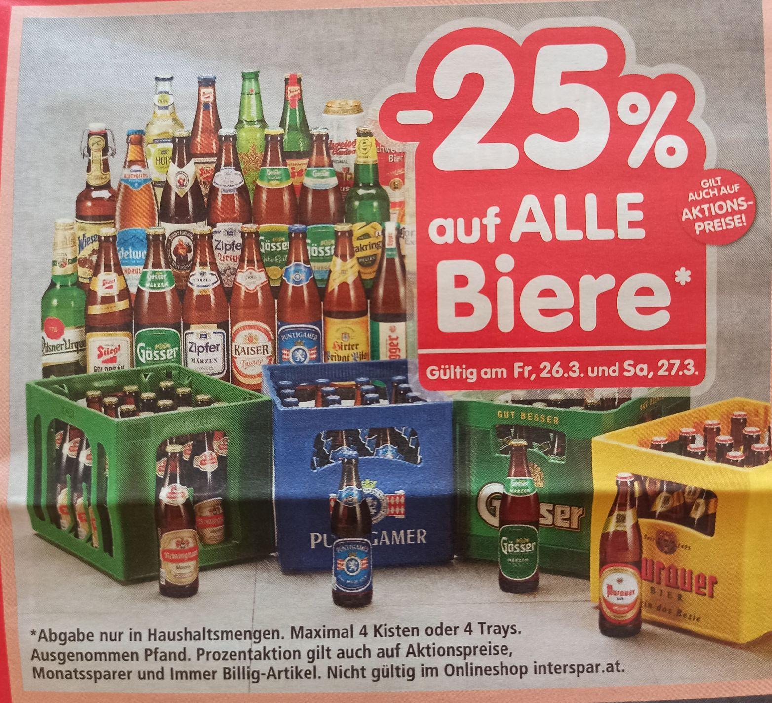 Interspar -25% (und Premium & TK) auf Bier & 20% auf Spielwaren - nur Freitag & Samstag!