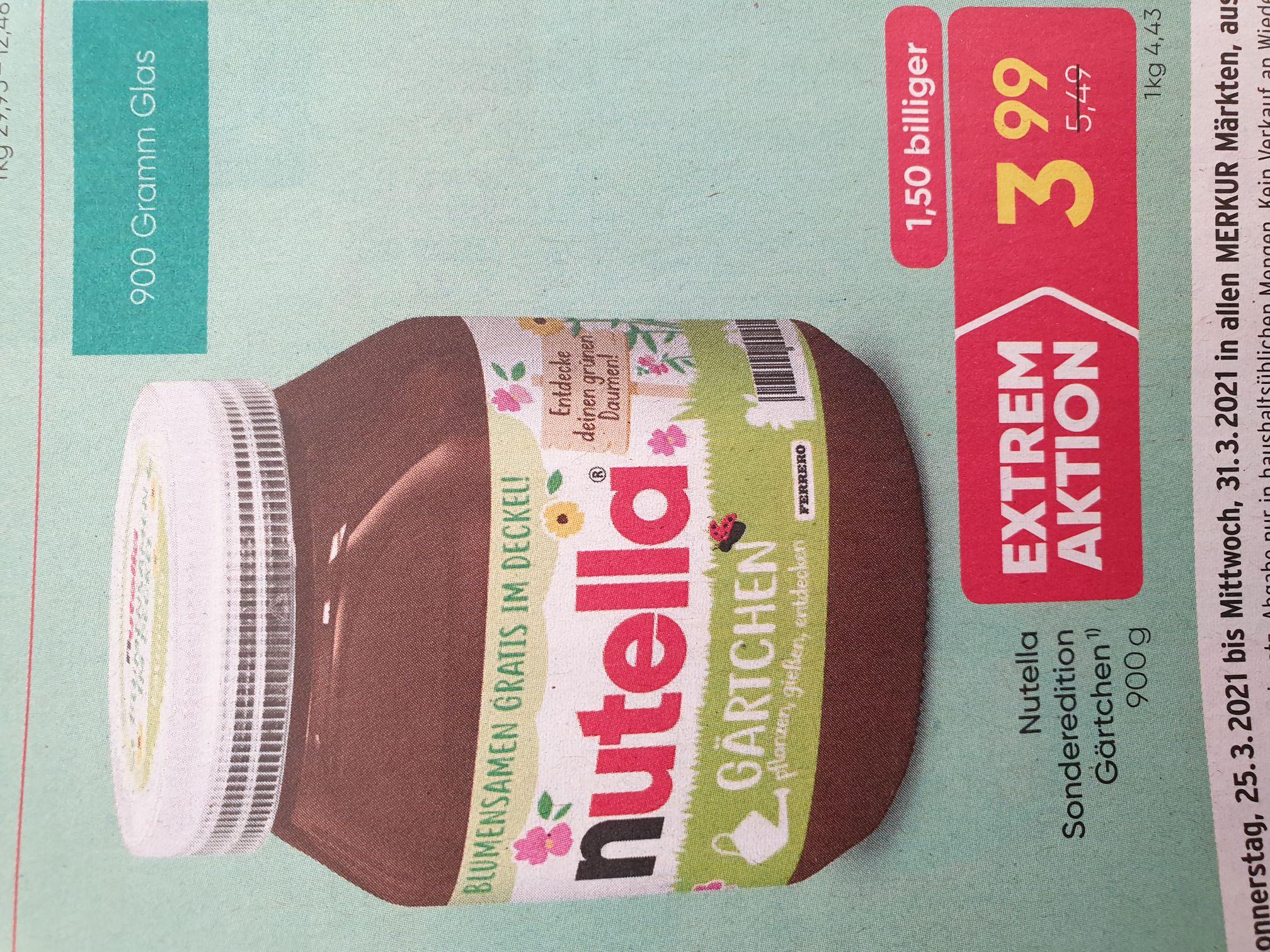 Nutella 900g Glas um 3.99€ bei Merkur