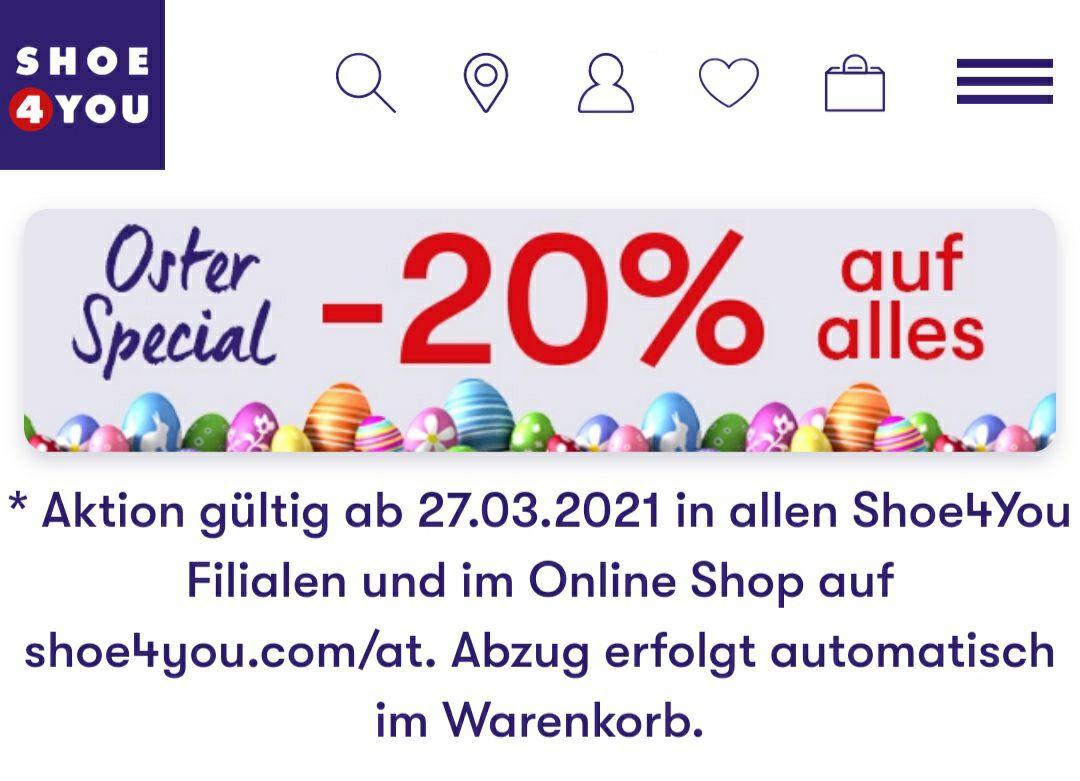 -20% auf alles bei Shoe 4 you
