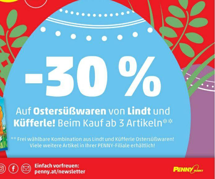 -30% auf Ostersüßwaren von Lindt und Küfferle beim Penny ab 3 Stück