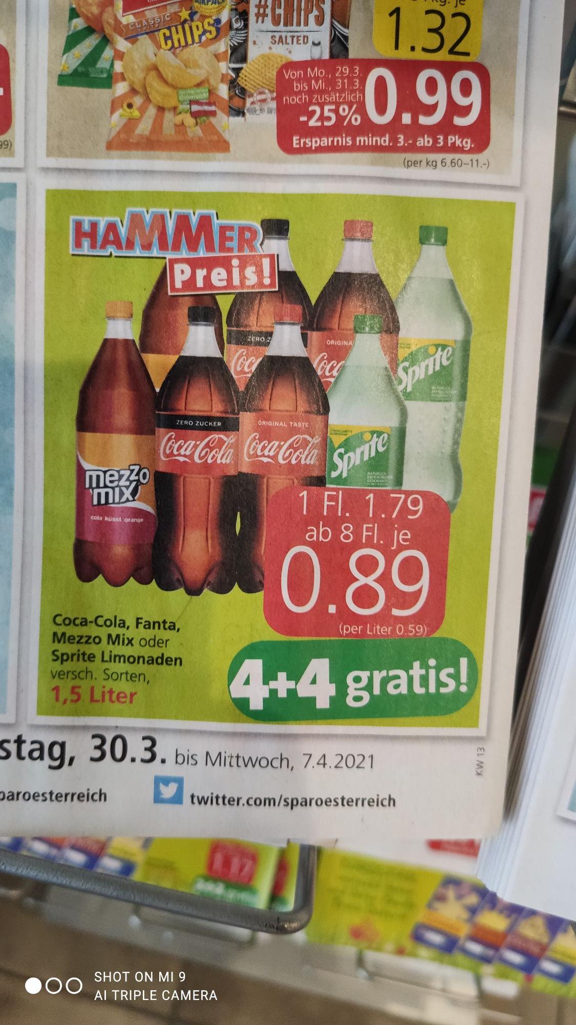 Interspar Coca-Cola, Coca-Cola Zero, Sprite, Fanta, Mezzomix 1,5L 4+4 Gratis Aktion