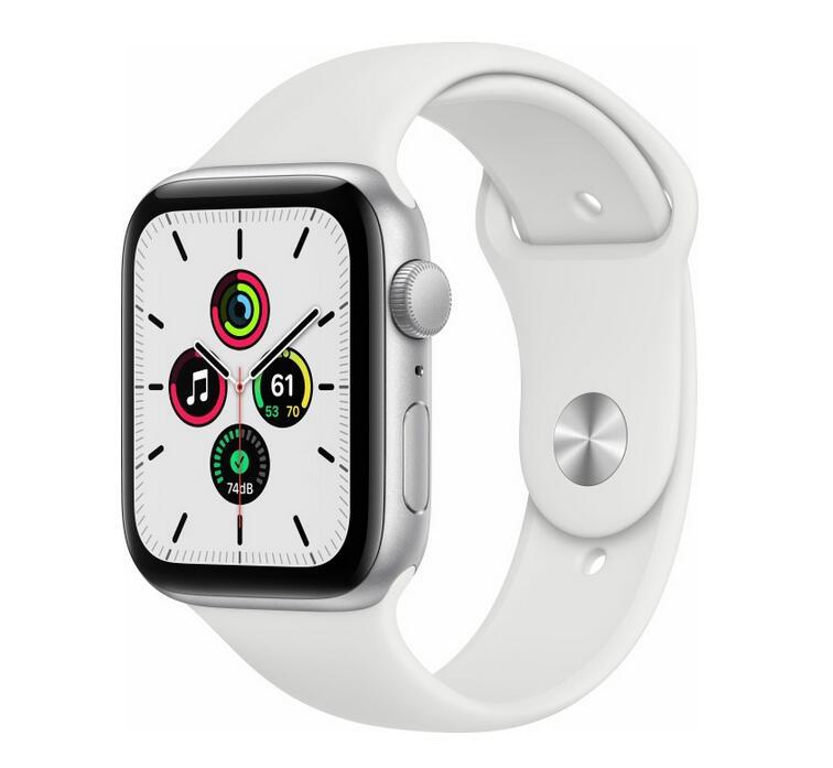 Apple Watch SE 44mm silber mit Sportarmband weiß