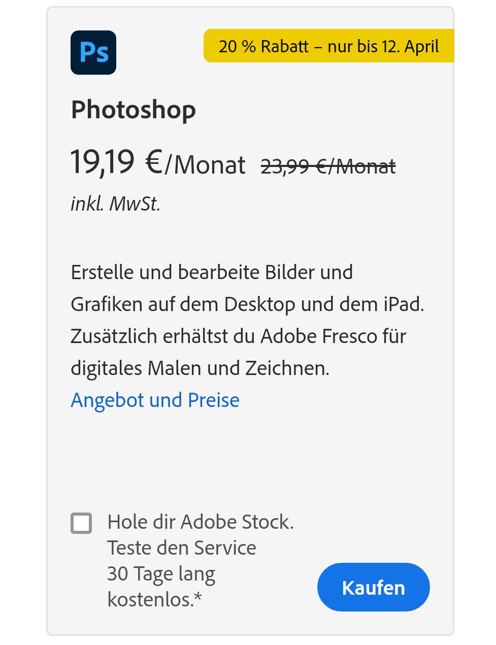 20% Rabatt auf einzelne Adobe-Tools wie Premiere Pro und Photoshop