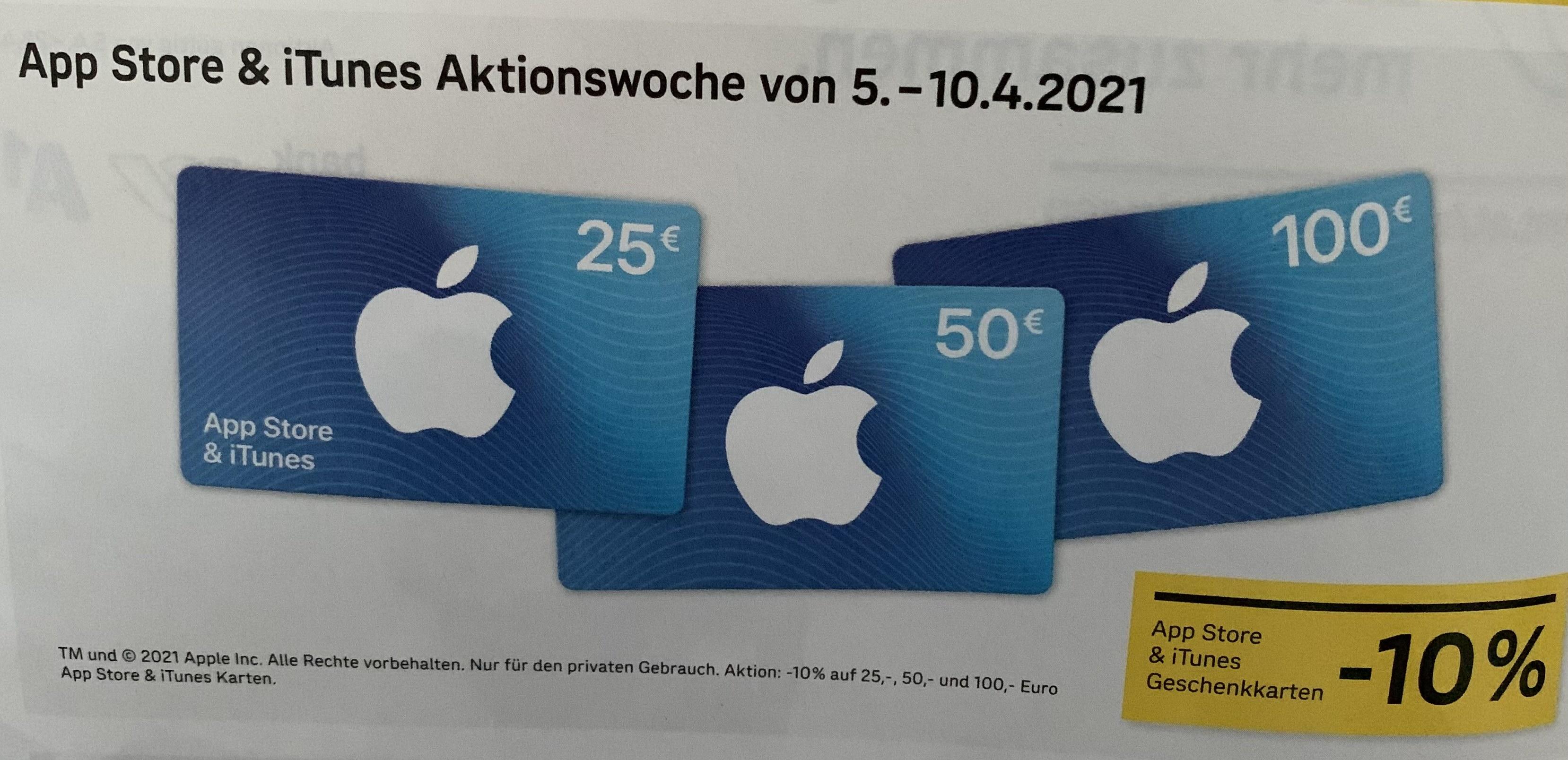 10% auf 25/50/100 Apple App Store & ITunes Karten